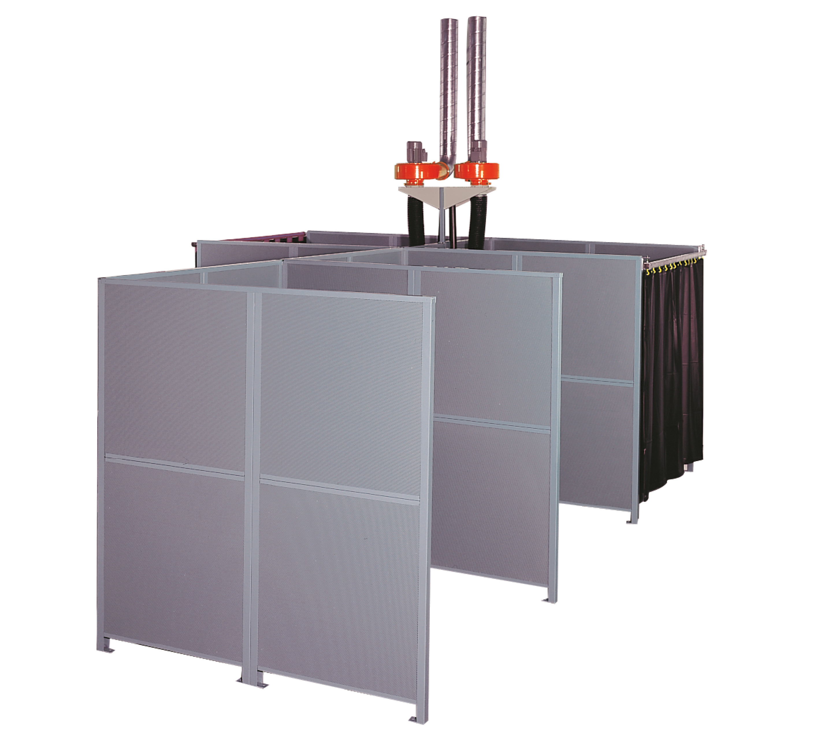 welding booths from modular partition wall systems and